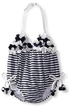 Kate Mack Baby-Girls Newborn Seaside Petals Swim Bubble, Navy Blue, 6 Months