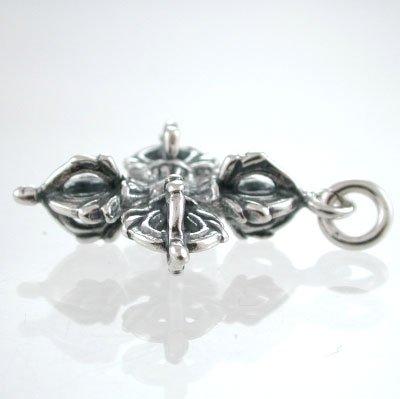3D Ornate Tibetan Dorje Vajra Pendant in Sterling Silver