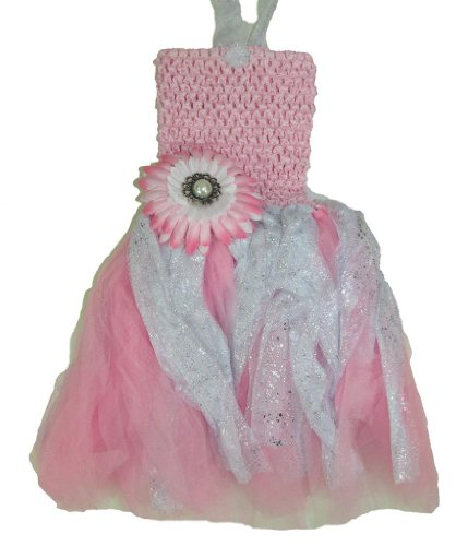 Baby Girl Daisy Glitter Tutu Dress With Flower Clip (Light Pink White) front-49887