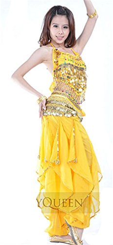 Dreamspell 2014 Professional Belly Dance Costumes Stage Show Yellow 3pcs Set