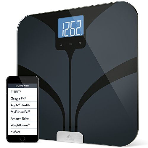 Weight Gurus Bluetooth Smart Connected Body Fat Scale with Large Backlit LCD, by Greater Goods (Black) (Scale App compare prices)