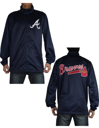 MLB Atlanta Braves Mens Zip-Up Track Jacket with Embroidered Logo XL Dark Blue at Amazon.com