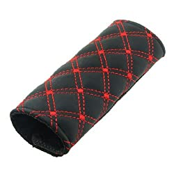 Banggood Red Line Seamed Rhombus Pattern Faux Leather Cover for Car Handbrake