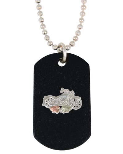 Black Motorcycle Dog Tag Necklace Sterling Silver, 12k Green and Rose Black Hills Gold Motif