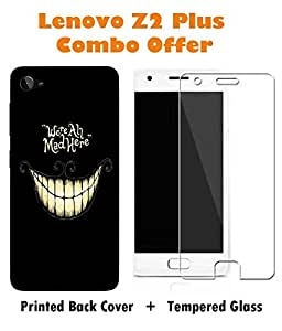 Lenovo Z2 Plus Funny Slogan Printed Black Hard Back Cover with Premium Tempered Glass Combo By Case Cover