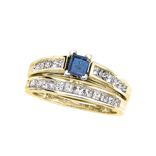 14K White Gold 1 ct. Princess Cut Diamond Engagement Set with Blue Center Diamond (G-H Color, SI2-I1 Clarity)