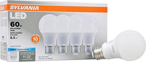 SYLVANIA, 60W Equivalent, LED Light Bulb, A19 Lamp, 4 Pack, Daylight, Energy Saving & Longer Life, Value Line, Medium Base, Efficient 8.5W, 5000K (Osram Led Bulb compare prices)