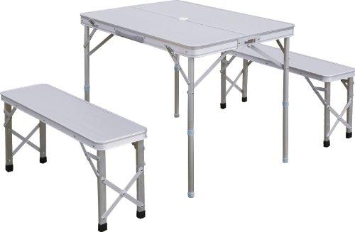 FIELDOOR テーブル・チェアセット 収納式アルミレジャーテーブル ベンチ分離タイプ