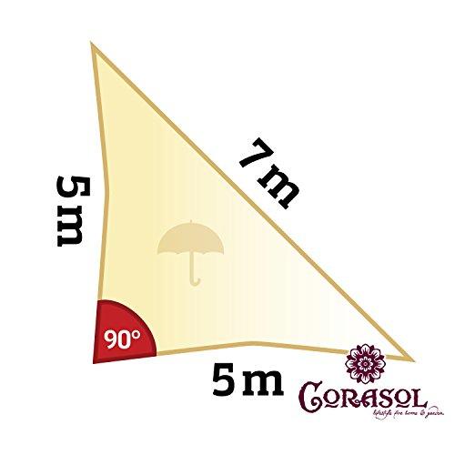 Corasol COR11RA5-CW - Vela de sombra para patio (resistente al agua), color beige, 5 x 5 x 7 m