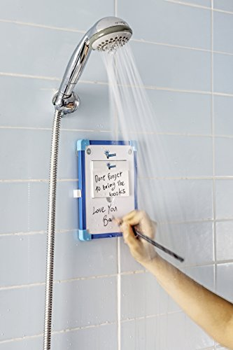 Eureka Shower Idea Whiteboard | Mountable Bathroom Writing Slate With Sturdy Suction Cups | 50 Removable Sheets, Oil Pencil & Microfiber Eraser Included | Fun Waterproof Notepad Wet & Dry Use Gadget (Shower Notepad compare prices)