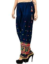 Vastraa Fusion Ethnic Embroidered Ladies Freesize Cotton Salwar - Navy Blue Colour