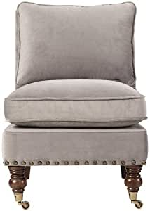 """Harrison Armless Chair With Nailheads, 32""""HX24""""WX33""""D, VELVET GRAY"""