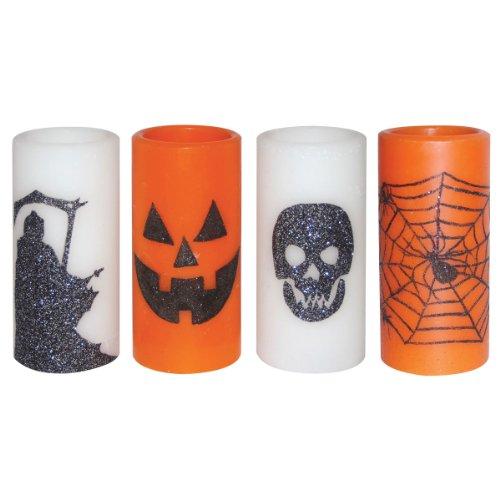 Set Of 4 Pillar Led Candles (Jack-O-Lantern, Spider & Web, Grim Reaper, Skull)
