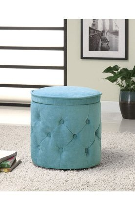 Button Tufted Storage Ottoman in Blue Finish by Coaster