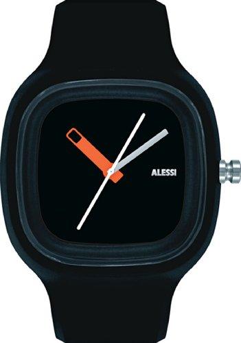 Alessi Unisex AL10010 Kaj Black Polyurethane Strap Watch