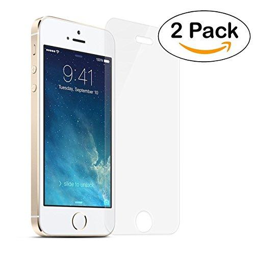 Vetro Temperato iPhone 5S / 5 / SE / 5C, Pellicola Protettiva NEW'C® PACK 2 in Vetro Temperato Screen Protector Film Ultra Resistente (0,33mm HD Alta trasparente) per iPhone 5S / 5 / SE / 5C