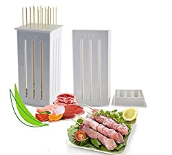 LussoLiv 16 Holes DIY BBQ Slicer Box Food Meat Vegetable Slicer Box Portable Barbecue Grill Kebab Tool