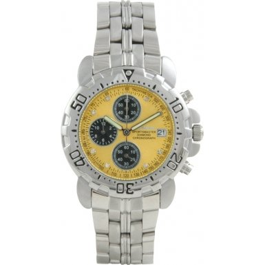 Krug Baumen 241269DM-Y Krug-Baumen Mens Sportsmaster Yellow Diamond Chronograph Watch