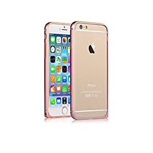 E2shop Ultra Thin Aluminum Bumper Frame Case with golden border for Iphone 6 , 4.7 Inch (pink)