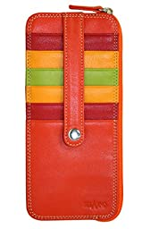 Belarno Credit Card Stacker Zippered Pocket ID Wallet - Orange