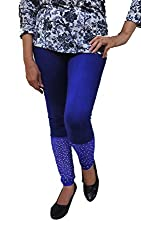 Choti Traders Blue Cotton & Net Leggings with Stones-M