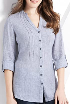 Pure Linen Nehru Collar Stripe Shirt [T41-7096-S]