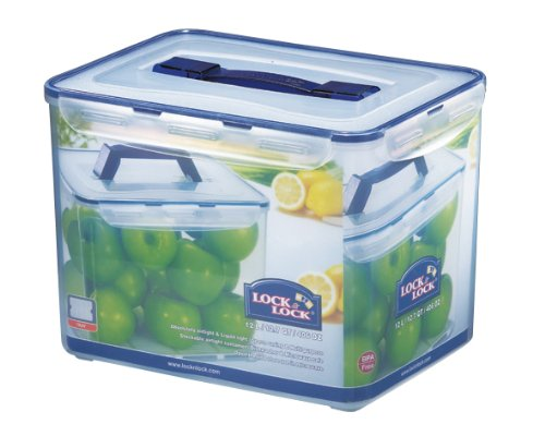 Lock&Lock 406-Fluid Ounce Rectangular Container With Handle And Tray, Tall, 50-Cup
