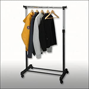 relaxdays wardrobe hanger rack rolling black. Black Bedroom Furniture Sets. Home Design Ideas