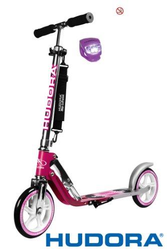 Hudora Scooter / Roller / Cityroller Big Wheel MC / RX 205 mit LENKERLICHT (MAGENTA SILBER)