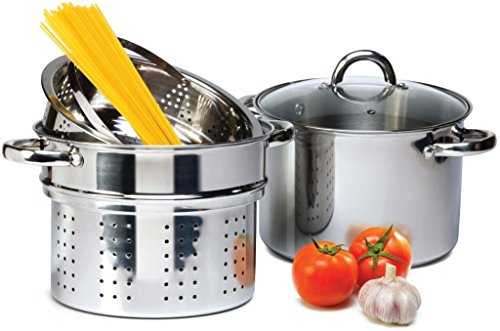 4 Pcs Stainless Steel Pasta Cooker Set - 8 qt Stock Pot with Steamer Inserts (8 Quart Pasta Insert compare prices)