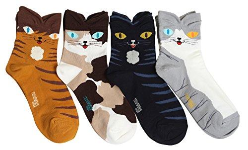 Women Cats Eyes Cartoon Crew Socks