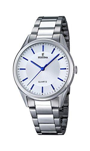 Festina-Reloj con mecanismo de cuarzo para hombre color blanco esfera analógica pantalla y plata pulsera de acero inoxidable F16875/3