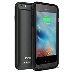 iPhone 6S Battery Case, iPhone 6 Battery Case, ZVOLTZ Wireless External Protective iPhone 6s Charging Case (4.7 Inches)[ Black/Black] 1-Yr Warranty] - 3100mAh Portable Charge[MFI Apple Certified]