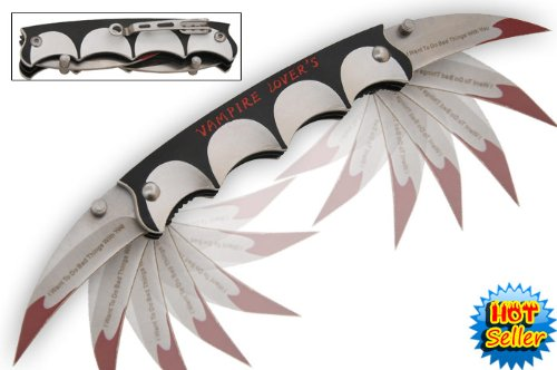 1-Vl-Bk Vampire Tlseigps Lover'S Trigger Er8Tu7Cij Assisted Dual Knife Folding Knife Edge Sharp Steel Ytkbio Tikos567 Bgf This Is A Very Novel And Unique Item. Get Your Own Vampire Lover'S Knife For Some Dual-Bladed Action Of Your Own. These Knives Are Av