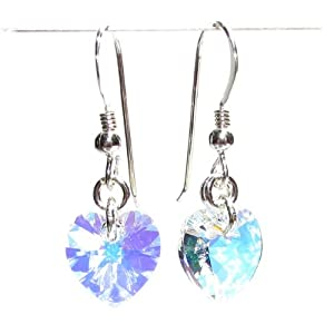 Crystal heart drop earrings made with AB Swarovski Diamond Cut crystal stones with gift box. Made in England.