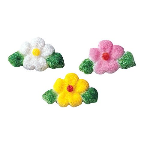 Leafed Flower Sugar Decorations Cookie Cupcake Cake Easter Flowers 12 Count