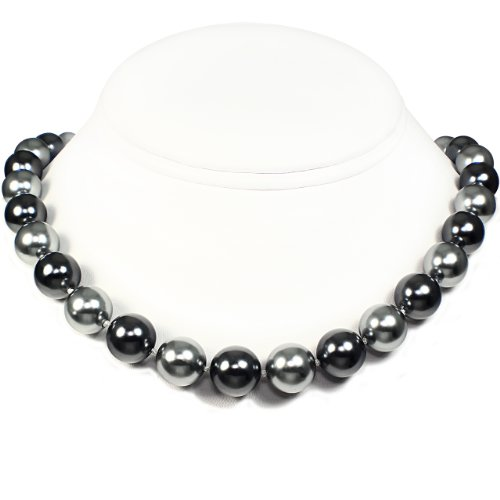 Mother of Pearl Necklace - High Polished Silver & Dark Gray Combination (12mm)