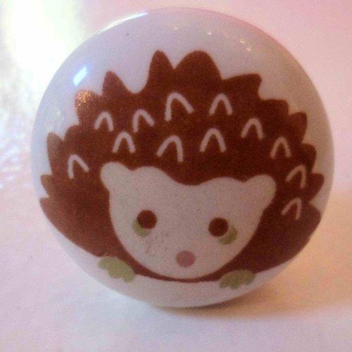 2 x Woodland design Ceramic Drawer Door knobs Squirrel and Hedgehog