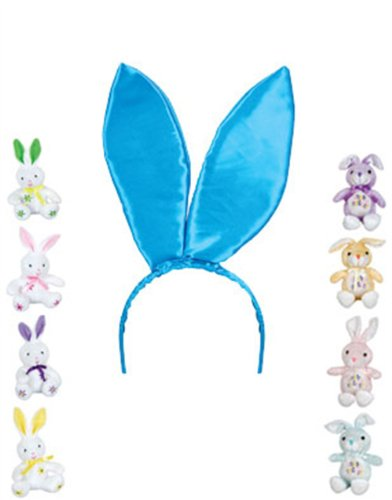 "New 9.5"" Blue Satin Easter Bunny Rabbit Costume Ears"