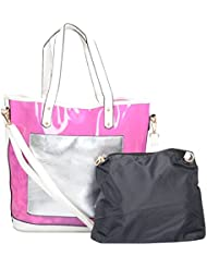 Moda King Women's Handbag (Pink And Black, Combo Of 2)