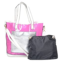 Moda King Women's Handbag (Pink and Black, Combo of 2)