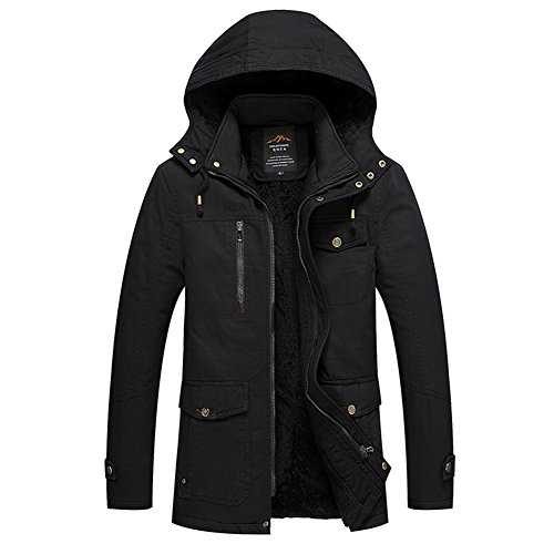 H.T.Niao Jacket8935C2 Men 's Korean Version of Leisure Plus Cotton(Black,Size M) (Eagles Peak 6 Person Tent compare prices)
