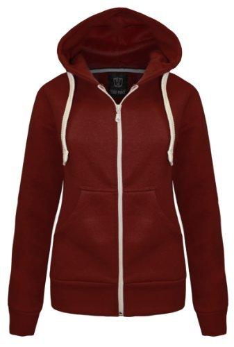 candy-floss-ladies-plain-zip-hooded-sweatshirt-fleece-jacket-wine-size-20