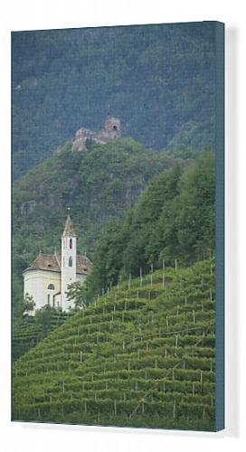 canvas-print-of-church-and-ruined-castle-at-missiano-caldero-wine-district-bolzano-alto-adige