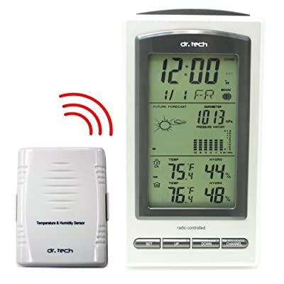 dr. Tech Air Pressure, Humidity, Temperature, Weather Forecast, Moon Phase Wireless Weather Station WF-1070T by SVP