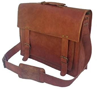 PL 18 Inch Vintage Handmade Leather Messenger Bag for Laptop Briefcase Satchel Bag 2016