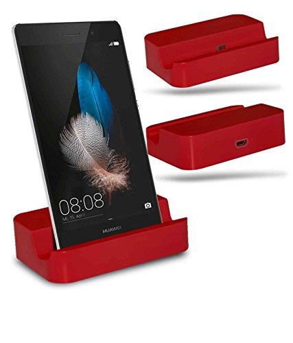 Huawei P8 Lite Station d'accueil de bureau avec chargeur Micro USB support de chargement - Red - By Gadget Giant®