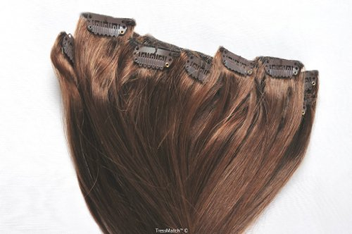 "TRESSMATCH 16""-18"" Remy Human Hair Clip in Extensions Chestnut/Medium Brown (#6) 9 Pieces Full Head .."