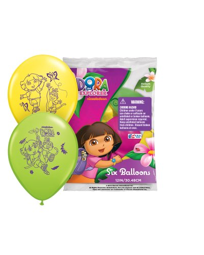 "Pioneer National Latex Dora The Explorer 12"" Latex Balloons, Assorted, 6 Count"