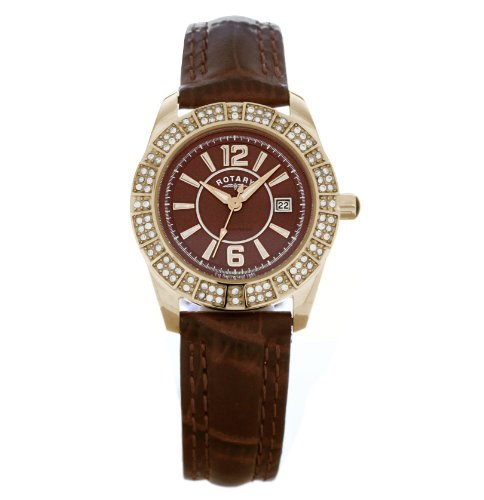 Rotary Ladies Gold Plated Stone Set Strap Watch LS30021/16